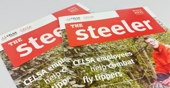 "Forging ahead with a new look for ""The Steeler"" newsletter design"